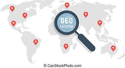 kaart, kunst, zoals, plaats, wereld, geo, pixel