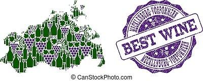 kaart, mecklenburg-vorpommern, druif, collage, postzegel, staat, best, wijntje