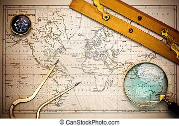 kaart, objects., oud, navigatie