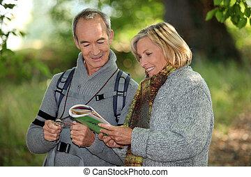 kaart, paar, lezende , bos