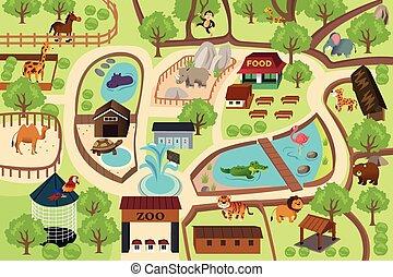 kaart, park, dierentuin