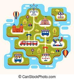 kaart, park, vermaak, aantrekkingen