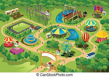 kaart, park, vermaak