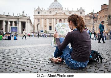 kaart, peter's, vrouwlijk, stad, studerend , straat., jonge, rome, plein, mooi, vatican, toerist