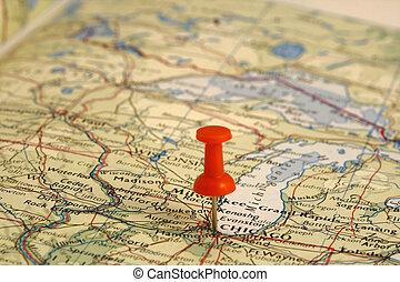 kaart, plaats, spelden, chicago