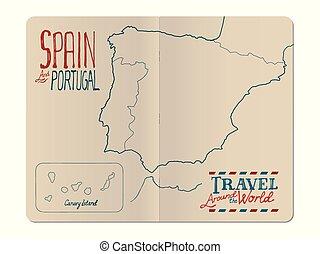 kaart, portugal, reizen, hand, geniete, aantekenboekje, getrokken, open, spanje