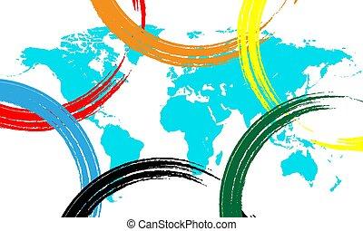 kaart, ringen, wereld