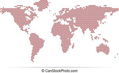 kaart, schaduw, achtergrond, wereld, witte , pixel, rood