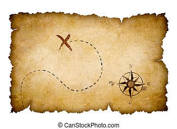 kaart, schat, piraten