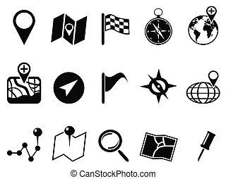 kaart, set, black , iconen
