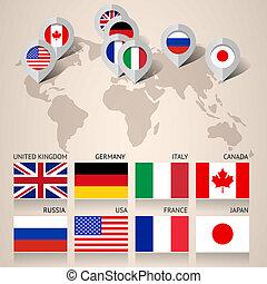 kaart, set, vlaggen, g8