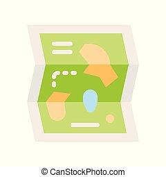 kaart, stijl, plat, park, verwant, vector, pictogram, vermaak