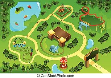 kaart, thema, vermakelijkheid park