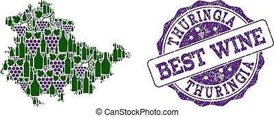 kaart, thuringia, postzegel, staat, druif, samenstelling, best, wijntje