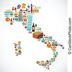 kaart, vector, italië, iconen