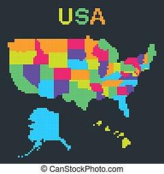 kaart, vector, pixel, usa