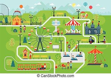 kaart, vector, plat, park, infographic, vermaak, communie, design.