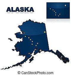 kaart, vlag, alaska
