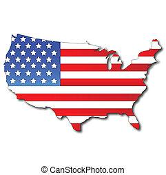kaart, vlag, amerikaan, usa
