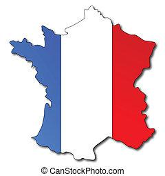 kaart, vlag, frans frankrijk