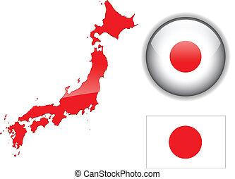 kaart, vlag, japan, button., glanzend