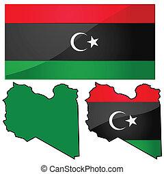 kaart, vlag, libië