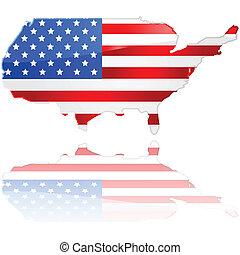 kaart, vlag, usa