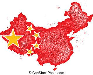 kaart, vlag, vector, grunge, china