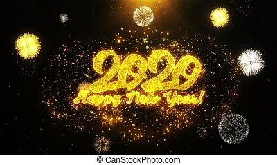 kaart, vrolijke , jaar, nieuw, uitnodiging, wensen, 2020, begroetenen, looped, vuurwerk, viering