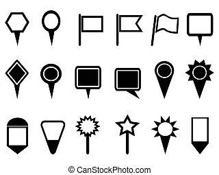kaart, wijzer, iconen, navigatie