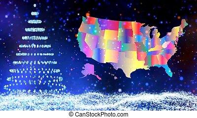 kaart, winter boom, effect, sneeuw, achtergrond, shinning, kerstmis