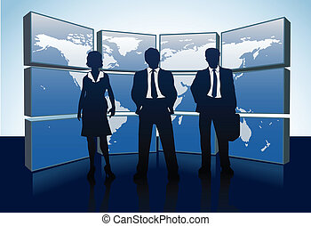 kaart, zakenlui, silhouettes, wereld, monitors