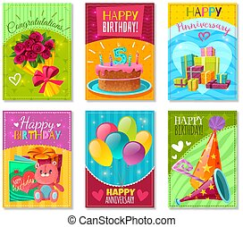 kaarten, jarig, groet, vrolijke