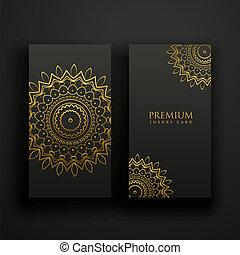 kaarten, mandala, black , luxe, goud