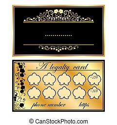 kaarten, orchids, goud, zakelijk, twee