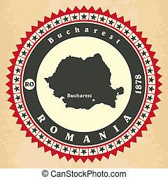 kaarten, ouderwetse , label-sticker, romania.