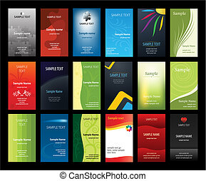 kaarten, set, zakelijk, verical