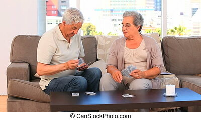 kaarten, spelend, paar