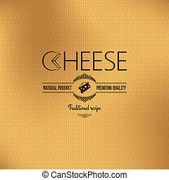kaas, ontwerp, ouderwetse , achtergrond, etiket