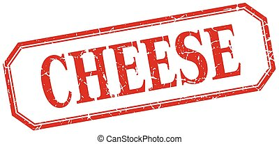 kaas, plein, grunge, ouderwetse , vrijstaand, etiket, rood