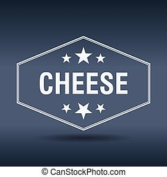 kaas, stijl, ouderwetse , etiket, retro, zeshoekig, witte