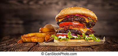 kaas, thuis, hamburger, sla, gemaakt