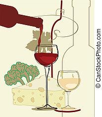 kaas, wijn glas, band