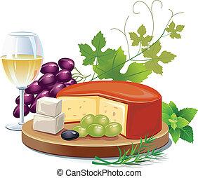 kaas, witte wijn