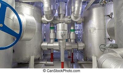 kabels, kamer, timelapse, binnen, industriebedrijven, bies, plant, hyperlapse, stichten, chiller, uitrusting