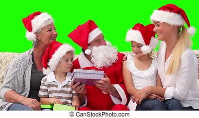 kadootjes, claus, kerstman, offergave, gezin