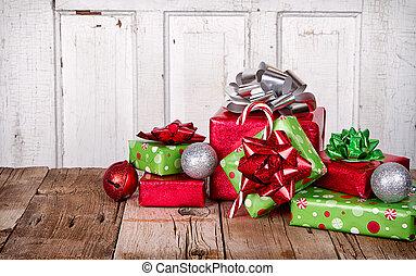 kadootjes, houten, kerstmis, achtergrond