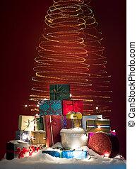 kadootjes, twirly, kerstmis, kleurrijke, lichten