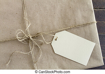 kadootjes, verpakte, label, kerstmis, leeg
