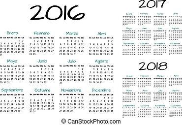 kalender, 2016-2017-2018, spaanse